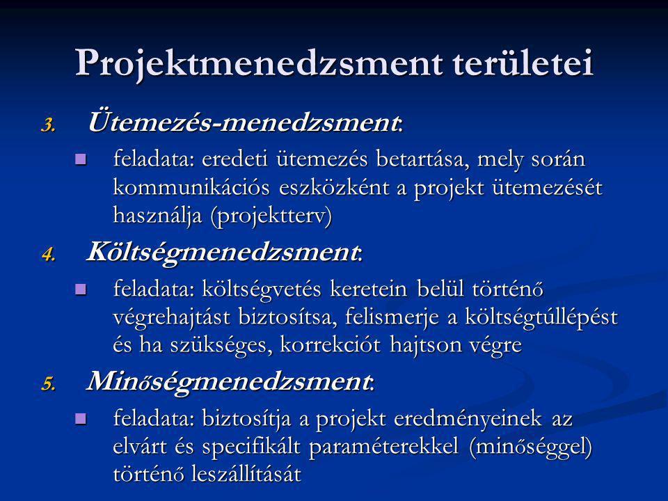 Projektmenedzsment területei 3. Ütemezés-menedzsment: feladata: eredeti ütemezés betartása, mely során kommunikációs eszközként a projekt ütemezését h
