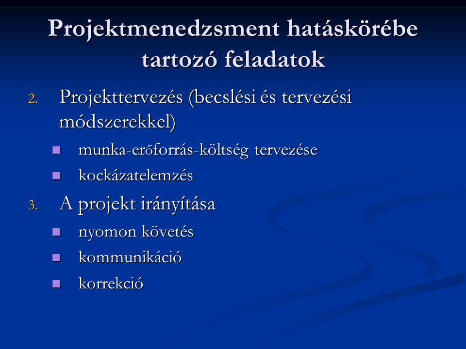 Projektmenedzsment hatáskörébe tartozó feladatok 2. Projekttervezés (becslési és tervezési módszerekkel) munka-er ő forrás-költség tervezése munka-er