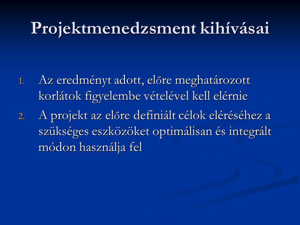 Projektmenedzsment kihívásai 1. Az eredményt adott, el ő re meghatározott korlátok figyelembe vételével kell elérnie 2. A projekt az el ő re definiált