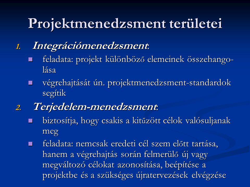 Projektmenedzsment területei 1. Integrációmenedzsment: feladata: projekt különböz ő elemeinek összehango- lása feladata: projekt különböz ő elemeinek