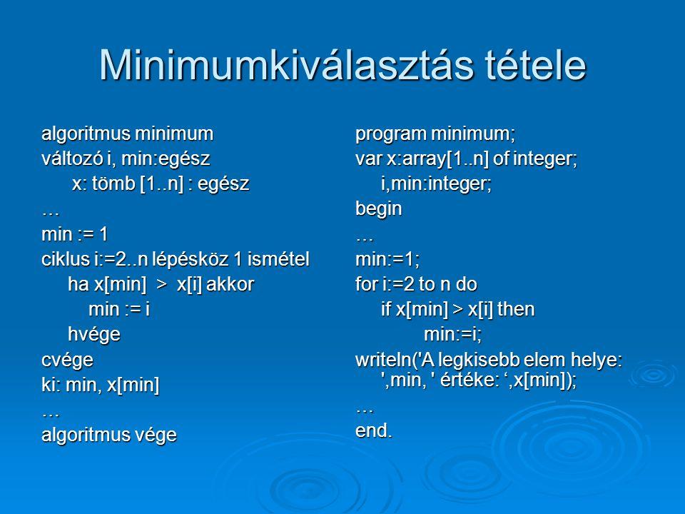 Minimumkiválasztás tétele algoritmus minimum változó i, min:egész x: tömb [1..n] : egész x: tömb [1..n] : egész… min := 1 ciklus i:=2..n lépésköz 1 is