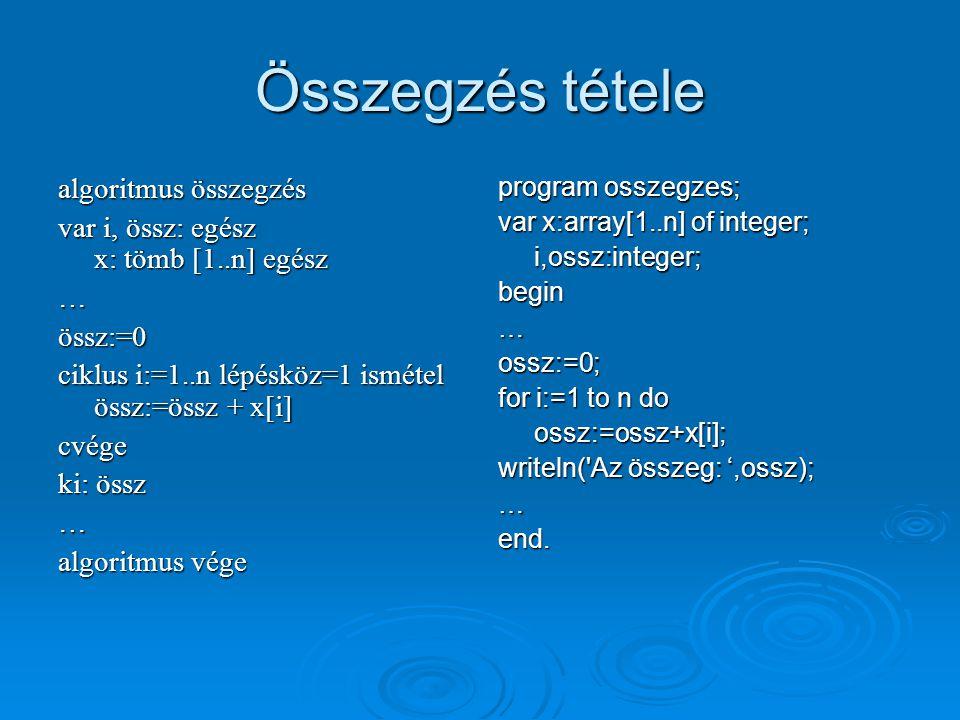 Összegzés tétele algoritmus összegzés var i, össz: egész x: tömb [1..n] egész …össz:=0 ciklus i:=1..n lépésköz=1 ismétel össz:=össz + x[i] cvége ki: ö