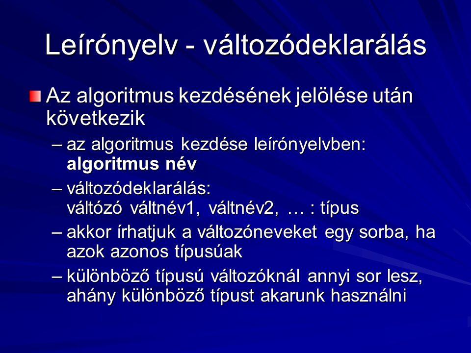 Leírónyelv - változódeklarálás Az algoritmus kezdésének jelölése után következik –az algoritmus kezdése leírónyelvben: algoritmus név –változódeklarálás: váltózó váltnév1, váltnév2, … : típus –akkor írhatjuk a változóneveket egy sorba, ha azok azonos típusúak –különböző típusú változóknál annyi sor lesz, ahány különböző típust akarunk használni