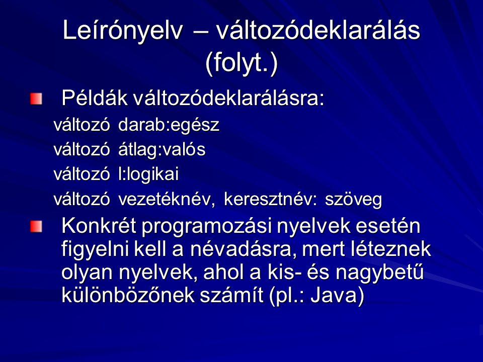 Leírónyelv – változódeklarálás (folyt.) Példák változódeklarálásra: változó darab:egész változó átlag:valós változó l:logikai változó vezetéknév, keresztnév: szöveg Konkrét programozási nyelvek esetén figyelni kell a névadásra, mert léteznek olyan nyelvek, ahol a kis- és nagybetű különbözőnek számít (pl.: Java)