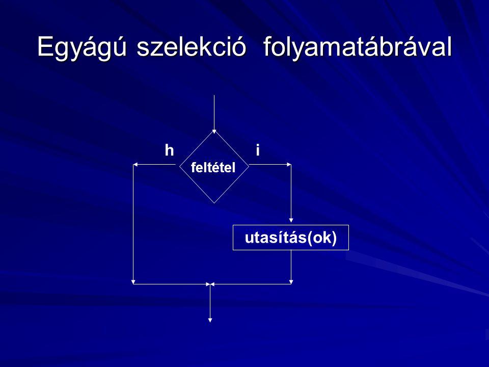 Egyágú szelekció folyamatábrával feltétel utasítás(ok) ih