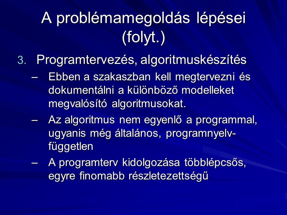 A problémamegoldás lépései (folyt.) 3.