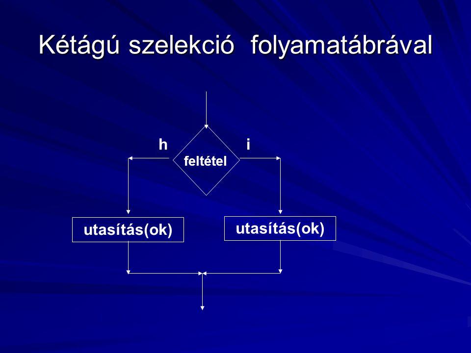 Kétágú szelekció folyamatábrával feltétel utasítás(ok) ih