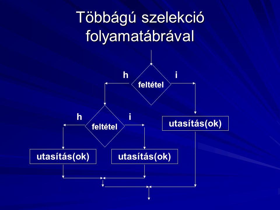 Többágú szelekció folyamatábrával feltétel utasítás(ok) ih feltétel ih utasítás(ok)