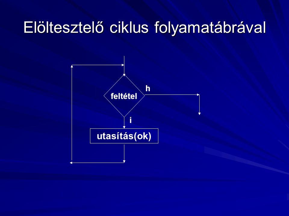 Elöltesztelő ciklus folyamatábrával feltétel utasítás(ok) i h
