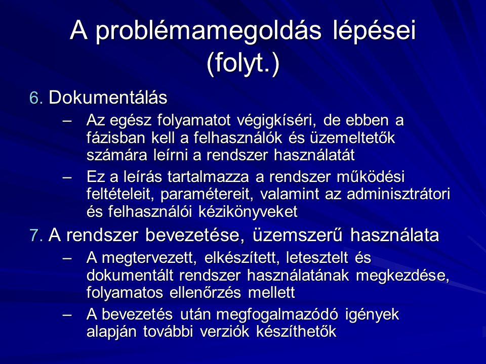 A problémamegoldás lépései (folyt.) 6.