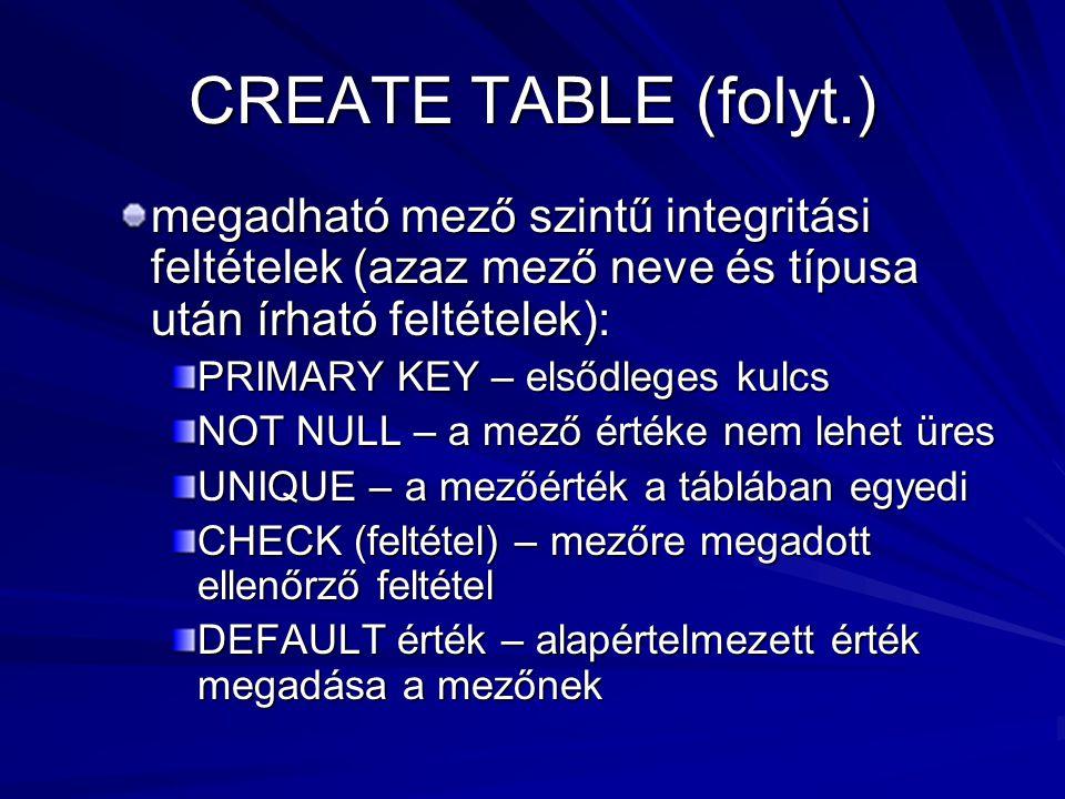 CREATE TABLE (folyt.) megadható mező szintű integritási feltételek (azaz mező neve és típusa után írható feltételek): PRIMARY KEY – elsődleges kulcs NOT NULL – a mező értéke nem lehet üres UNIQUE – a mezőérték a táblában egyedi CHECK (feltétel) – mezőre megadott ellenőrző feltétel DEFAULT érték – alapértelmezett érték megadása a mezőnek