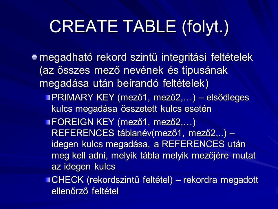 CREATE TABLE (folyt.) megadható rekord szintű integritási feltételek (az összes mező nevének és típusának megadása után beírandó feltételek) PRIMARY KEY (mező1, mező2,…) – elsődleges kulcs megadása összetett kulcs esetén FOREIGN KEY (mező1, mező2,…) REFERENCES táblanév(mező1, mező2,..) – idegen kulcs megadása, a REFERENCES után meg kell adni, melyik tábla melyik mezőjére mutat az idegen kulcs CHECK (rekordszintű feltétel) – rekordra megadott ellenőrző feltétel