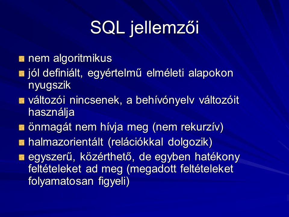 SQL jellemzői nem algoritmikus jól definiált, egyértelmű elméleti alapokon nyugszik változói nincsenek, a behívónyelv változóit használja önmagát nem hívja meg (nem rekurzív) halmazorientált (relációkkal dolgozik) egyszerű, közérthető, de egyben hatékony feltételeket ad meg (megadott feltételeket folyamatosan figyeli)