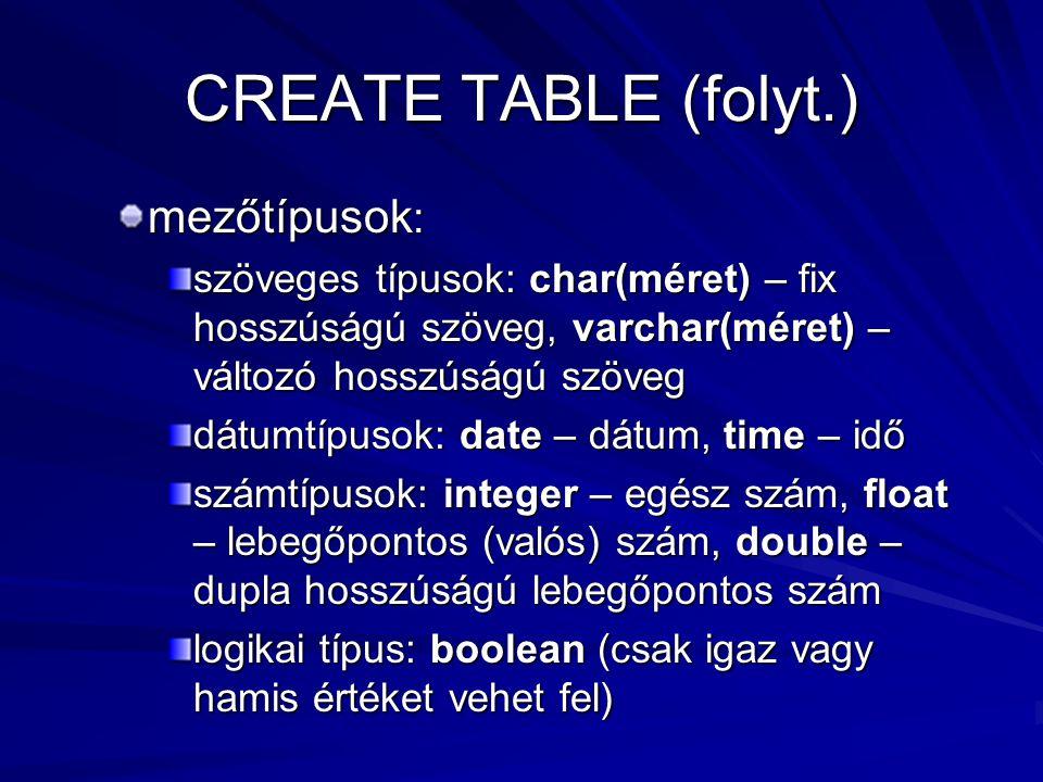 CREATE TABLE (folyt.) mezőtípusok : szöveges típusok: char(méret) – fix hosszúságú szöveg, varchar(méret) – változó hosszúságú szöveg dátumtípusok: date – dátum, time – idő számtípusok: integer – egész szám, float – lebegőpontos (valós) szám, double – dupla hosszúságú lebegőpontos szám logikai típus: boolean (csak igaz vagy hamis értéket vehet fel)