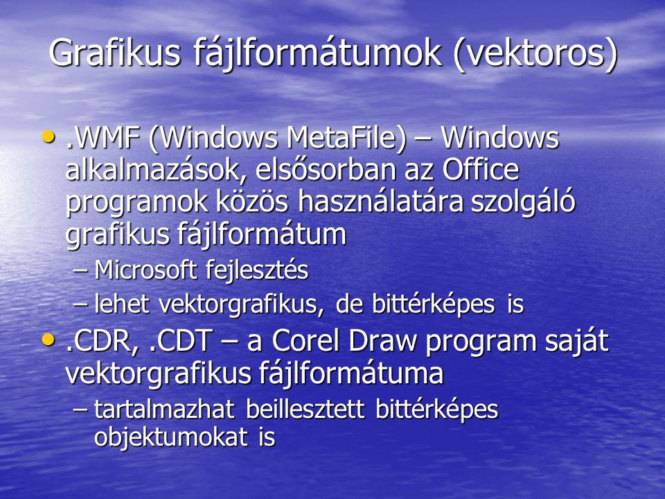 Grafikus fájlformátumok (vektoros).WMF (Windows MetaFile) – Windows alkalmazások, elsősorban az Office programok közös használatára szolgáló grafikus