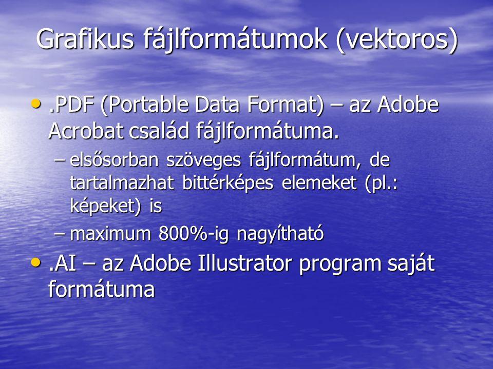 Grafikus fájlformátumok (vektoros).PDF (Portable Data Format) – az Adobe Acrobat család fájlformátuma..PDF (Portable Data Format) – az Adobe Acrobat c