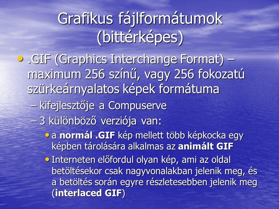 Grafikus fájlformátumok (bittérképes).GIF (Graphics Interchange Format) – maximum 256 színű, vagy 256 fokozatú szürkeárnyalatos képek formátuma.GIF (G