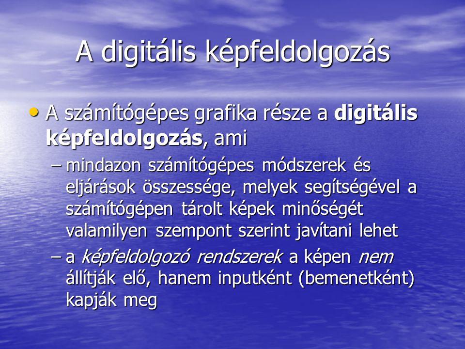 A digitális képfeldolgozás A számítógépes grafika része a digitális képfeldolgozás, ami A számítógépes grafika része a digitális képfeldolgozás, ami –