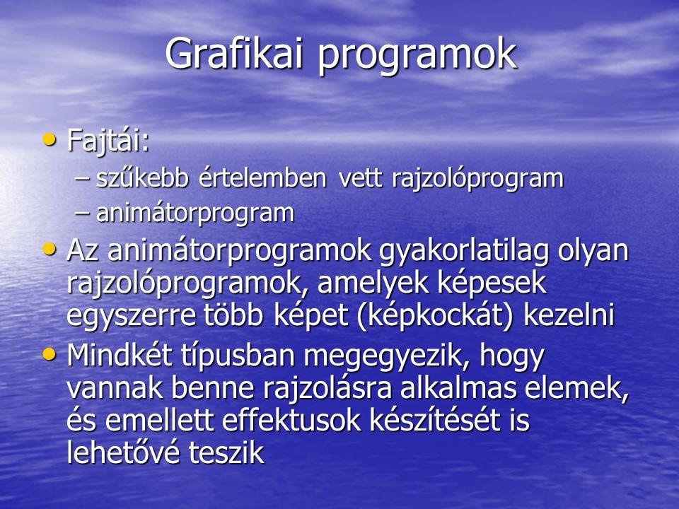 Grafikai programok Fajtái: Fajtái: –szűkebb értelemben vett rajzolóprogram –animátorprogram Az animátorprogramok gyakorlatilag olyan rajzolóprogramok,