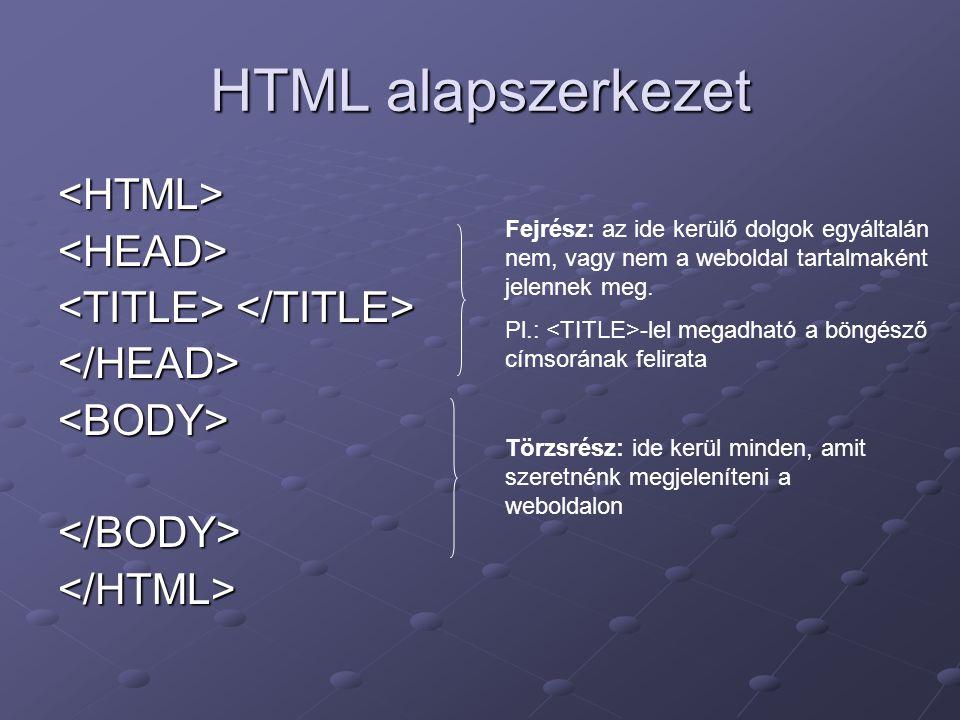 HTML alapszerkezet <HTML><HEAD> </HEAD><BODY></BODY></HTML> Fejrész: az ide kerülő dolgok egyáltalán nem, vagy nem a weboldal tartalmaként jelennek meg.