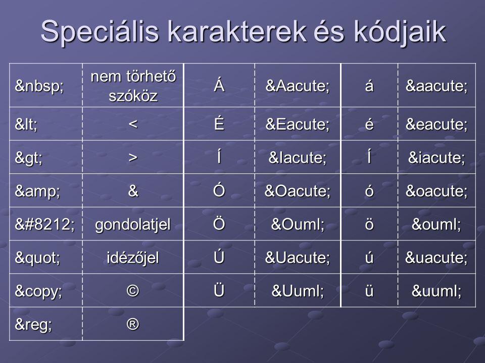 Speciális karakterek és kódjaik nem törhető szóköz ÁÁáá <<ÉÉéé >>ÍÍÍí &&ÓÓóó —gondolatjelÖÖöö idézőjelÚÚúú ©©ÜÜüü ®®