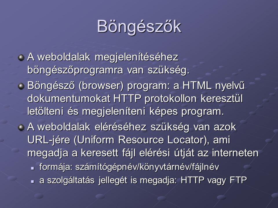 Böngészők A weboldalak megjelenítéséhez böngészőprogramra van szükség.