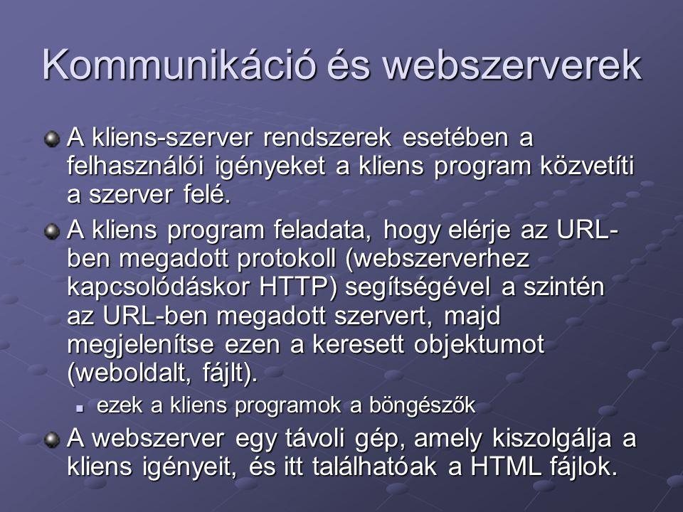 Kommunikáció és webszerverek A kliens-szerver rendszerek esetében a felhasználói igényeket a kliens program közvetíti a szerver felé.