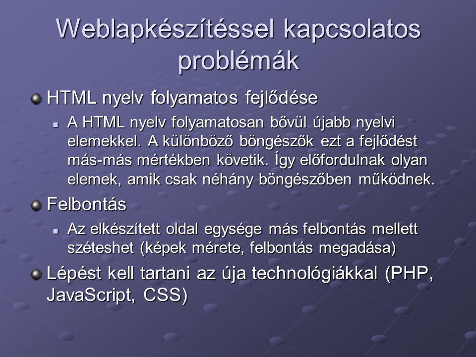 Weblapkészítéssel kapcsolatos problémák HTML nyelv folyamatos fejlődése A HTML nyelv folyamatosan bővül újabb nyelvi elemekkel.