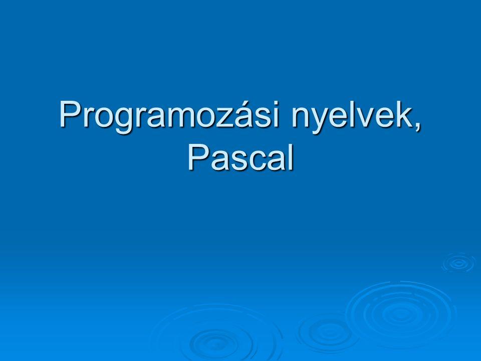 Programozási nyelvek, Pascal