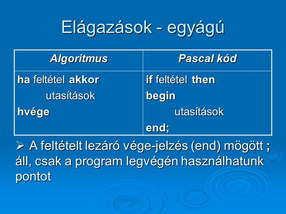 Elágazások - egyágú Algoritmus Pascal kód ha feltétel akkor utasításokhvége if feltétel then beginutasításokend;  A feltételt lezáró vége-jelzés (end