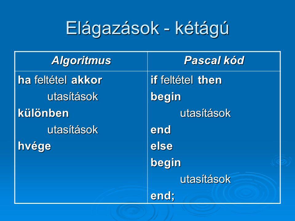 Elágazások - kétágú Algoritmus Pascal kód ha feltétel akkor utasításokkülönbenutasításokhvége if feltétel then beginutasításokendelsebeginutasításoken