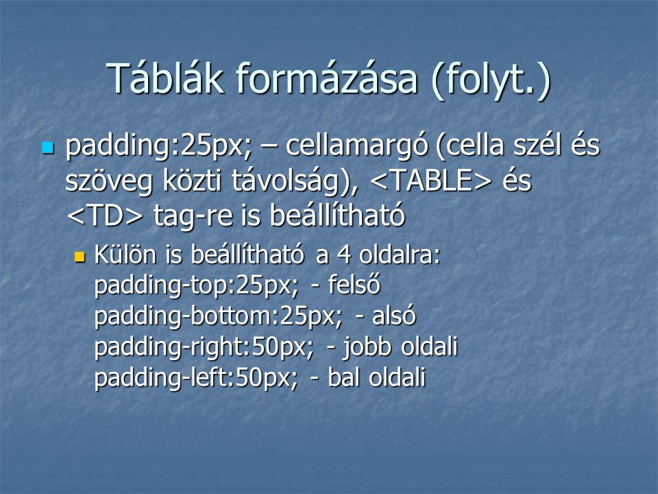 Táblák formázása (folyt.) padding:25px; – cellamargó (cella szél és szöveg közti távolság), és tag-re is beállítható padding:25px; – cellamargó (cella
