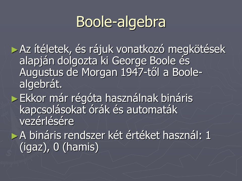 Boole-algebra ► Az ítéletek, és rájuk vonatkozó megkötések alapján dolgozta ki George Boole és Augustus de Morgan 1947-től a Boole- algebrát. ► Ekkor