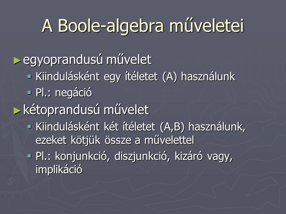 A Boole-algebra műveletei ► egyoprandusú művelet  Kiindulásként egy ítéletet (A) használunk  Pl.: negáció ► kétoprandusú művelet  Kiindulásként két