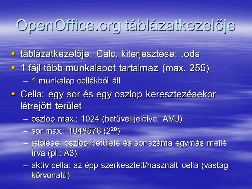 OpenOffice.org táblázatkezelője  táblázatkezelője: Calc, kiterjesztése:.ods  1 fájl több munkalapot tartalmaz (max. 255) –1 munkalap cellákból áll 