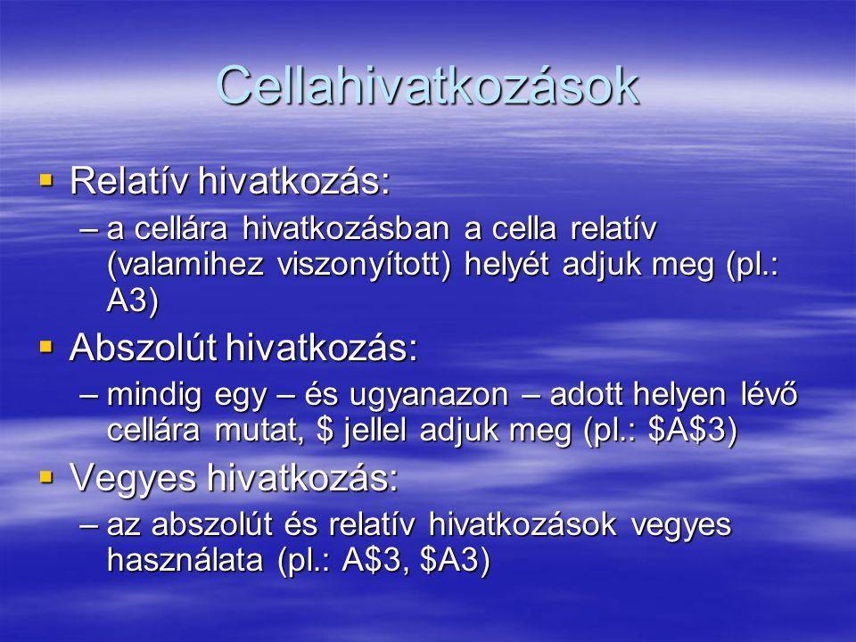 Cellahivatkozások  Relatív hivatkozás: –a cellára hivatkozásban a cella relatív (valamihez viszonyított) helyét adjuk meg (pl.: A3)  Abszolút hivatk