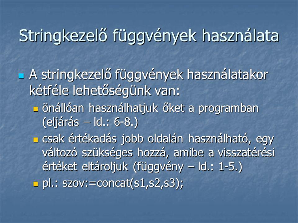 Stringkezelő függvények használata A stringkezelő függvények használatakor kétféle lehetőségünk van: A stringkezelő függvények használatakor kétféle l
