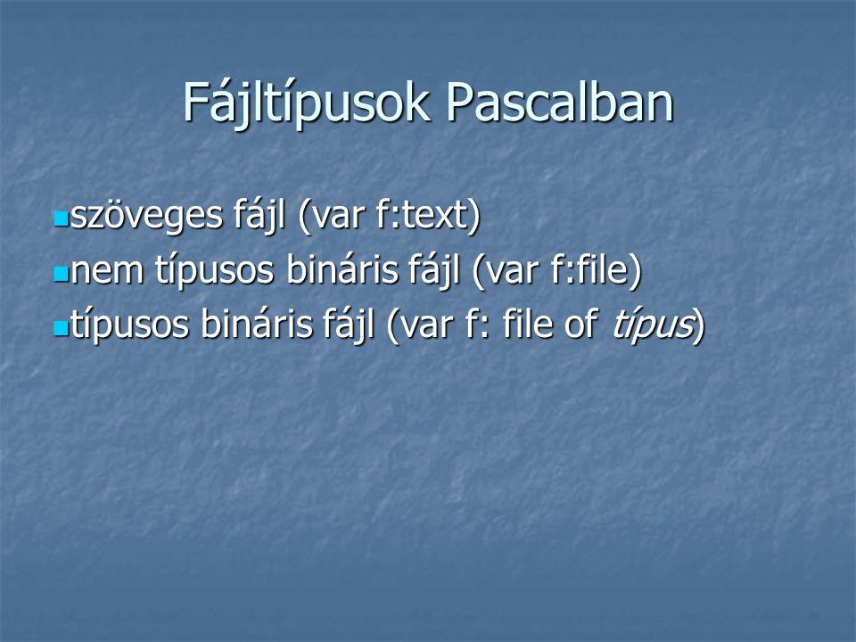 Fájltípusok Pascalban szöveges fájl (var f:text) szöveges fájl (var f:text) nem típusos bináris fájl (var f:file) nem típusos bináris fájl (var f:file) típusos bináris fájl (var f: file of típus) típusos bináris fájl (var f: file of típus)