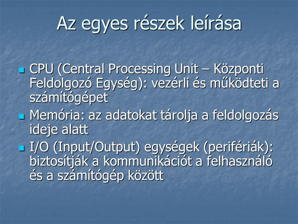 Az egyes részek leírása CPU (Central Processing Unit – Központi Feldolgozó Egység): vezérli és működteti a számítógépet CPU (Central Processing Unit – Központi Feldolgozó Egység): vezérli és működteti a számítógépet Memória: az adatokat tárolja a feldolgozás ideje alatt Memória: az adatokat tárolja a feldolgozás ideje alatt I/O (Input/Output) egységek (perifériák): biztosítják a kommunikációt a felhasználó és a számítógép között I/O (Input/Output) egységek (perifériák): biztosítják a kommunikációt a felhasználó és a számítógép között