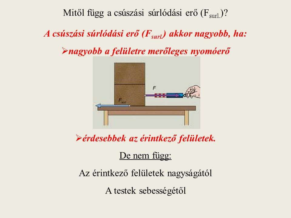 Mitől függ a csúszási súrlódási erő (F surl. )? A csúszási súrlódási erő (F surl. ) akkor nagyobb, ha:  nagyobb a felületre merőleges nyomóerő  érde