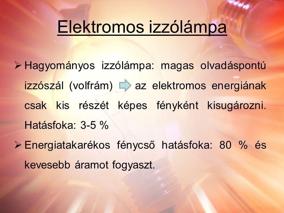 Elektromos izzólámpa  Hagyományos izzólámpa: magas olvadáspontú izzószál (volfrám) az elektromos energiának csak kis részét képes fényként kisugározn