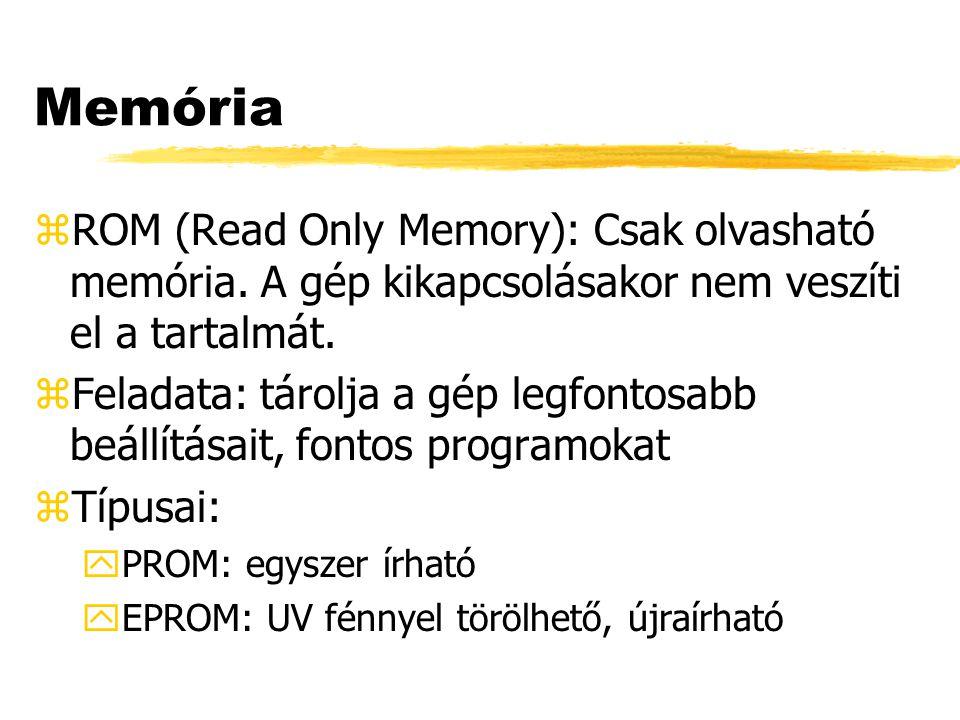 Memória zRAM (Random Access Memory): Írható- olvasható memória.