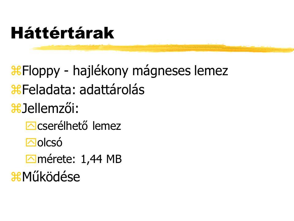 Háttértárak zFloppy - hajlékony mágneses lemez zFeladata: adattárolás zJellemzői: ycserélhető lemez yolcsó ymérete: 1,44 MB zMűködése