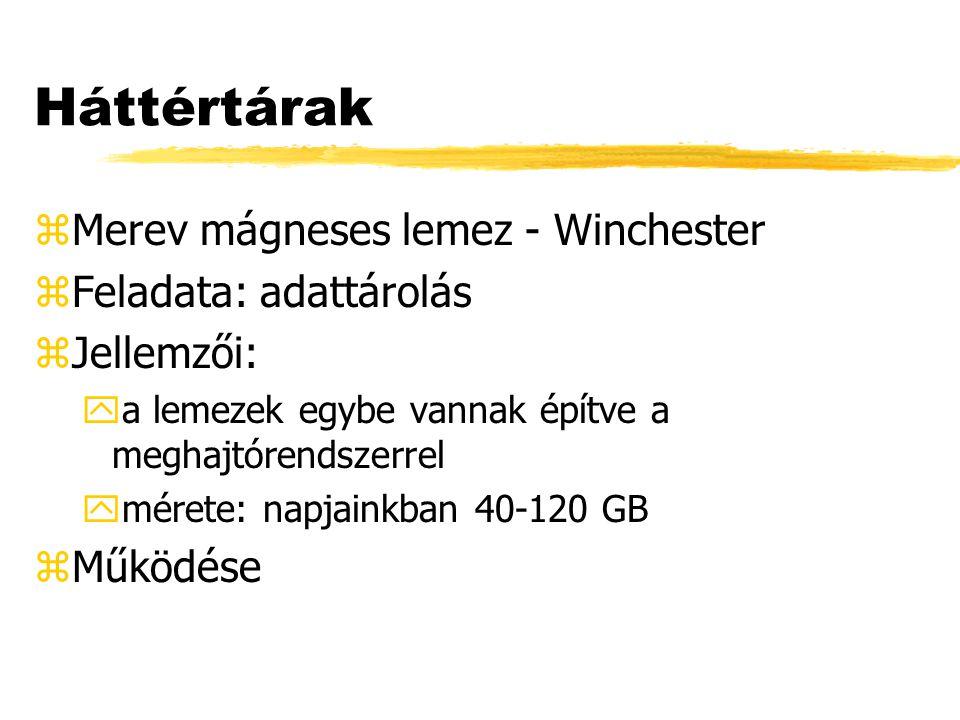 Háttértárak zMerev mágneses lemez - Winchester zFeladata: adattárolás zJellemzői: ya lemezek egybe vannak építve a meghajtórendszerrel ymérete: napjainkban 40-120 GB zMűködése