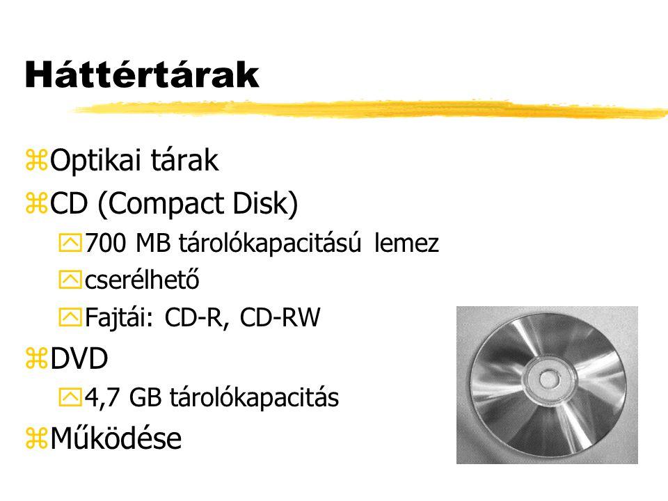 Háttértárak zOptikai tárak zCD (Compact Disk) y700 MB tárolókapacitású lemez ycserélhető yFajtái: CD-R, CD-RW zDVD y4,7 GB tárolókapacitás zMűködése
