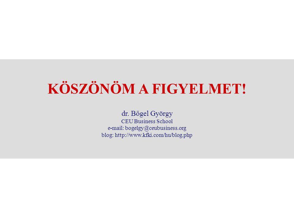 KÖSZÖNÖM A FIGYELMET! dr. Bőgel György CEU Business School e-mail: bogelgy@ceubusiness.org blog: http://www.kfki.com/hu/blog.php