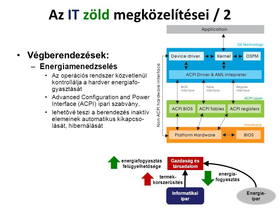 Végberendezések: –Energiamenedzselés Az operációs rendszer közvetlenül kontrollálja a hardver energiafo- gyasztását Advanced Configuration and Power I
