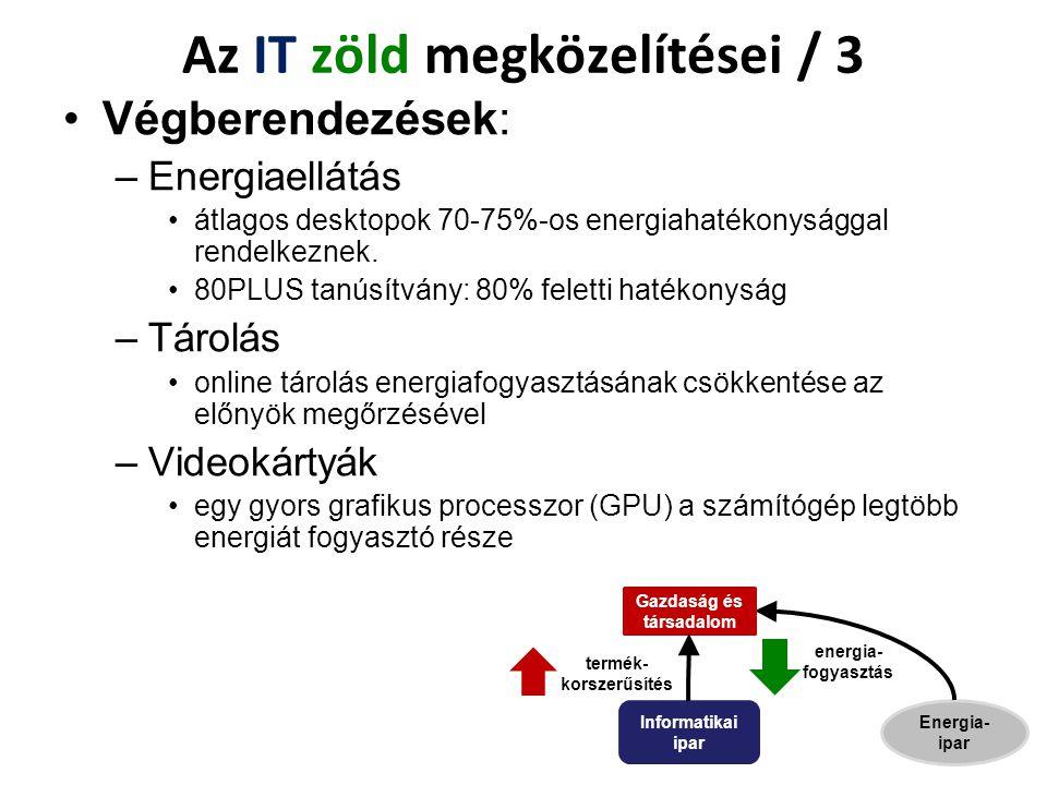Végberendezések: –Energiaellátás átlagos desktopok 70-75%-os energiahatékonysággal rendelkeznek. 80PLUS tanúsítvány: 80% feletti hatékonyság –Tárolás