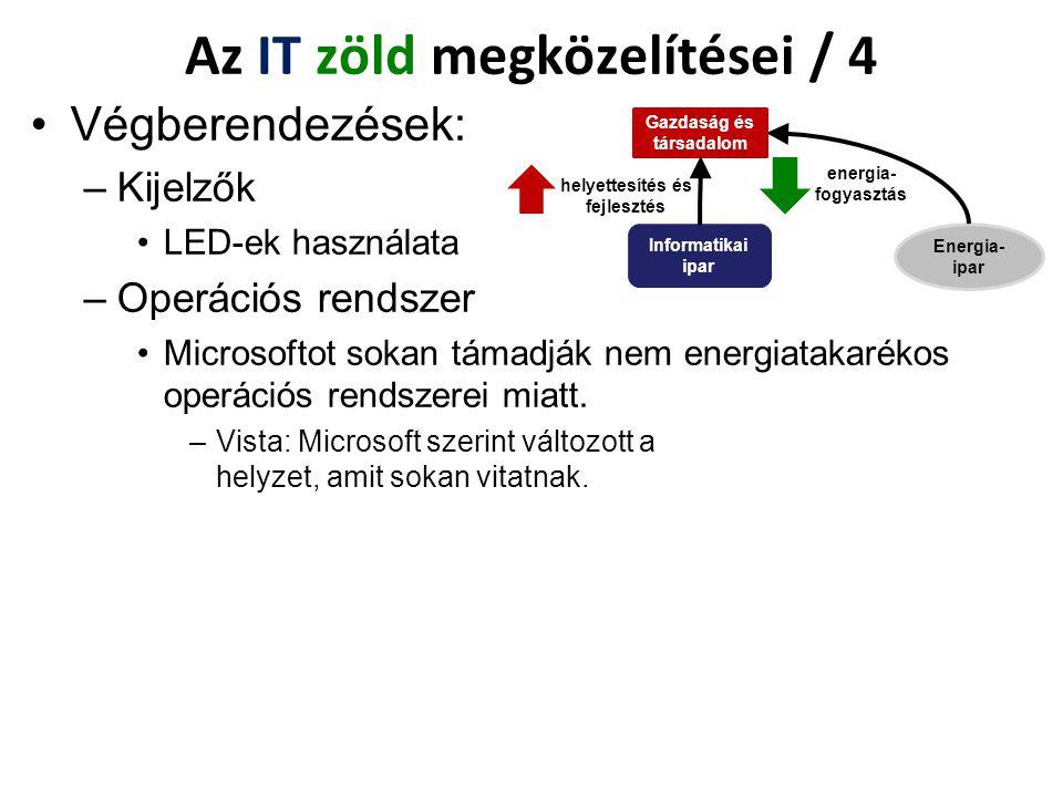 Végberendezések: –Kijelzők LED-ek használata –Operációs rendszer Microsoftot sokan támadják nem energiatakarékos operációs rendszerei miatt. –Vista: M