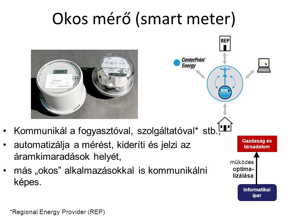 """Okos mérő (smart meter) Kommunikál a fogyasztóval, szolgáltatóval* stb., automatizálja a mérést, kideríti és jelzi az áramkimaradások helyét, más """"oko"""